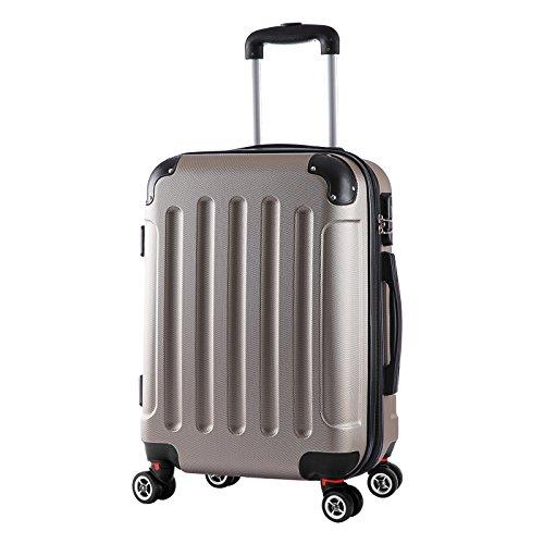 WOLTU RK4201ch, Reise Koffer Trolley Hartschale mit erweiterbare Volumen, Reisekoffer Hartschalenkoffer 4 Rollen, M/L/XL/Set, leicht und günstig, Champagne (M, 55 cm & 42 Liter)
