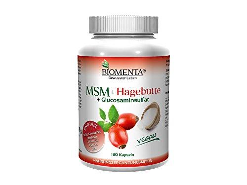 BIOMENTA MSM Schwefel + Hagebuttenpulver + Glucosamin | 180 MSM Kapseln hochdosiert u. VEGAN | Gelenkkapseln bei Gelenk Schmerzen – Anti Pickel Tabletten bei Akne | bei Allergien u. unreine Haut