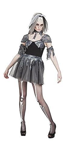 Halloweenia - Damen Halloweenkostüm Gothik Bride kurz, Dunkelgrau, Größe XL (Monster Bride Kostüm Make-up)