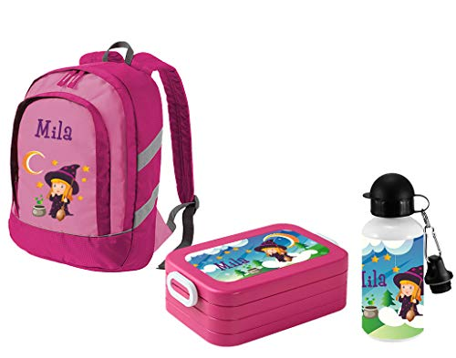 *Mein Zwergenland Set 3 Kindergartenrucksack Bicolor + Brotdose Lunchbox Maxi und Alu-Trinkflasche mit Namen, 3-teilig, Hexe, Rosa*