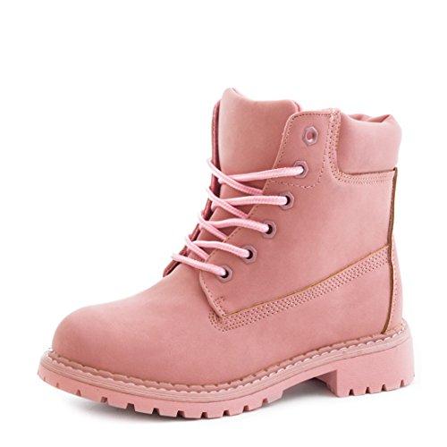 stylische-damen-schnur-boots-kurzschaft-stiefeletten-in-lederoptik-armee-pink-37