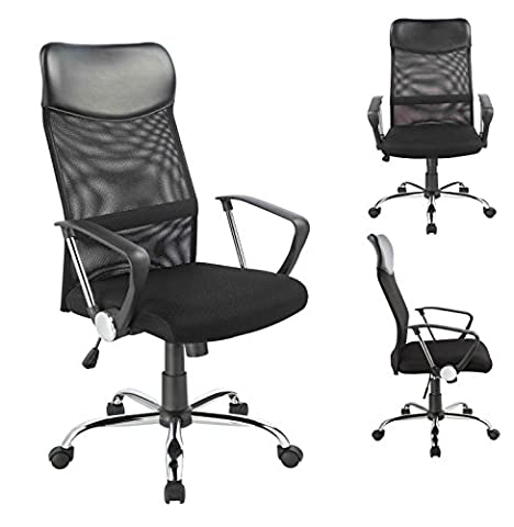 Office Chair Black - 0341 Duhome - Mesh Ergonomic Chef Armchair Swivel Tilt Function High-back
