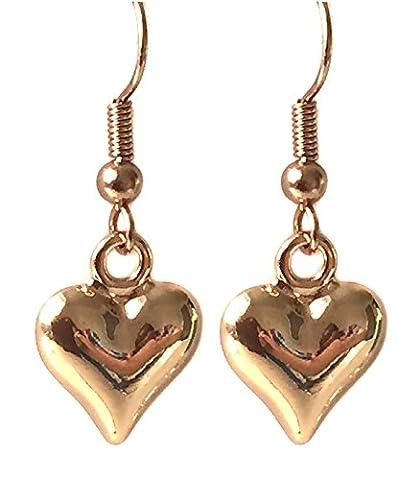 Rose Gold Puffed Heart Drop Earrings by Black Moon