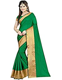 Sarees(Perfectblue Women`s Cotton Silk Checks Designer Saree With Blouse Piece.(GreenLineXXX)