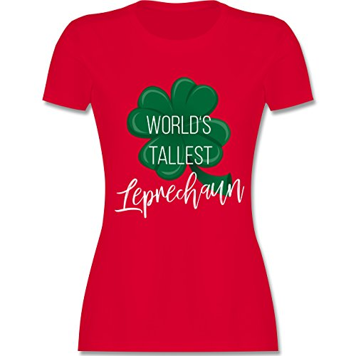 Shirtracer St. Patricks Day - Worlds Tallest Leprechaun - Damen T-Shirt Rundhals Rot