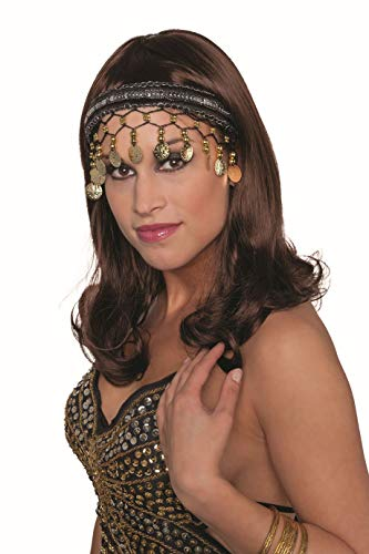 Schmuck Indischer Kostüm - Jannes 33025 Tiara Ziegeunerin mit Münzen Bauchtänzerin Wahrsagerin Kopfschmuck Einheitsgröße Schwarz