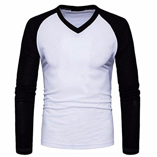 Btruely Herren T-Shirt Junge Bluse Männer Langarm Shirt V-Ausschnitt Top Slim Fit Hemden Herren (XXL, Weiß)