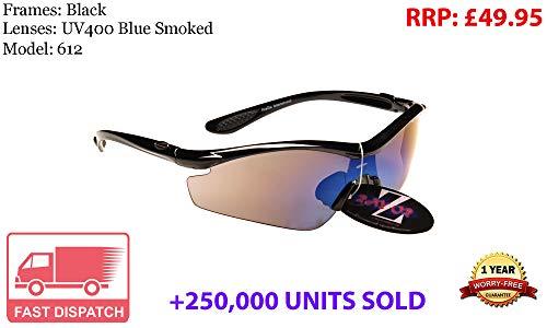 Rayzor professionali leggeri nero UV400 Sport Wrap occhiali da sole in ciclismo con una lente blu affumicato.