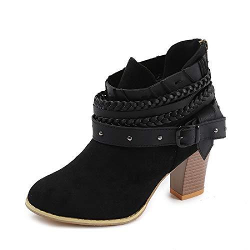 NEOKER Damen Stiefeletten Wedge Schnalle High-Heels Reißverschluss Stiefel Chelsea Schuhe Herbst Römische Trichterabsatz Outdoor Frauen Ankle Boots 8cm Schwarz 42