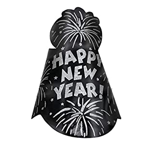 Amscan-250373-109iin negro Foil Glitter cono sombrero año nuevo