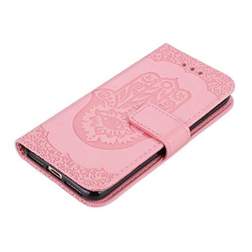 Geprägtes Floweer-Muster Retro- Art-horizontaler Schlag-Standplatz-Fall PU-lederner Fall-Abdeckung mit Mappen-Beutel u. Lanyard u. Kickstand für iPhone 7 ( Color : Pink ) Pink