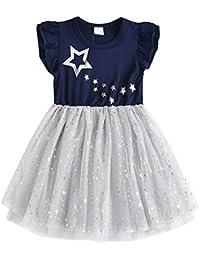 15dc07924 VIKITA Girls Dress Kids Baby Girl Dress Short Sleeve Dresses Cotton  Embroidery Rainbow Flower Print Age