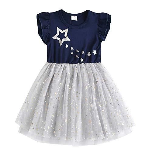 VIKITA Mädchen Prinzessin Kleider Baumwolle Tüll Festzug Party Hochzeit Kleid Gr.86-128 SH4581 4T 4t Kleid