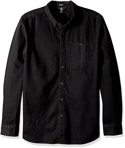 Volcom Men's Crowley Chambray Button up Long Sleeve Rash Guard Shirt