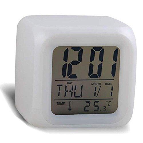 Winkey Digitaler Wecker-Thermometer, Nachtbeleuchtung, Würfelform, 7 Farben, Plastik, weiß, 7.5 x 7.5 x 7.5cm(LxWxH)