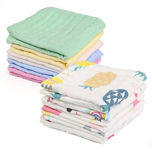 Asciugamani Bambini Mussola, LinStyle Set da 10 Riutilizzabile 100% Cotone Asciugamano Viso Infantile 30 x 30 cm Baby Accessorio Fazzoletto per Neonati