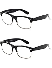 Reading Glasses - Best 2 Pack For Men And Women Club Master Fashion Comfort Spring Arms & Dura-Tight