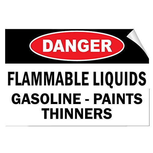 Label Decal Sticker Danger Flammable Liquids Gasoline Paints Thinners Hazard Durability Self Adhesive Decal Uv Protected & Weatherproof (Flammable Liquid-label)
