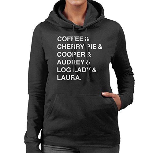 Twin Peaks Coffee And Cherry Women's Hooded Sweatshirt Black
