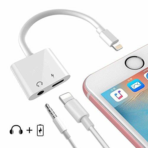 pfhörer Jack für iPhone X, iPhone 8 / 8Plus , iPhone 7/7plus, 2 in 1lightning Connector auf 3,5 mm Klinkenstecker Kopfhörer Verlängerung Adapter praktisch und geeignet für iPhone ios10.3/11 (weiß) (Jetzt Oder Bis Später)