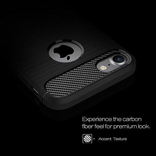 iPhone 8 Hülle, Landee [Rugged Armor] Elastisch Ultimative Schutz vor Stürzen und Stößen [Karbon Look] Schutzhülle für iPhone 8 (4.7inch)(iPhone 8-TQ-Gray) Black