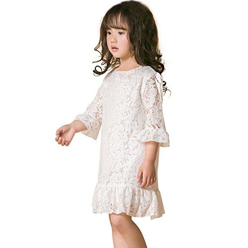 Mädchen Kleider Spitze Kind Kleid mit Hülse Weiches Baumwollfutter Lotus Blatt zum Party Hochzeit Beiläufig (13-14 Jahre, (Kostüme Chinesische Prinzessin)