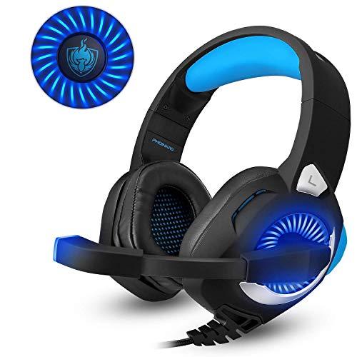 Gaming Headset für PS4,3.5mm Surround Sound mit Kabel Headset mit Mikrofon, Buntes LED-Licht, Gaming Kopfhörer Spiel Headset mit Mikrofon für PC Xbox One,Laptop, Mac, Tablet, PC, Smartphone (Blau) (Xbox-controller Für Die Kinder)