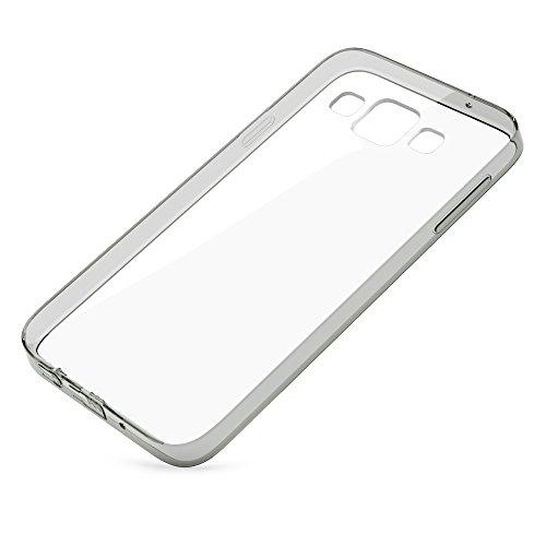 Samsung Galaxy A3 2015 Hülle Handyhülle von NICA, Durchsichtiges Slim Silikon Case Transparente Rückseite & Bumper, Crystal Schutzhülle Etui Dünn, Handy-Tasche Back-Cover - Transparent / Türkis Transparent / Grau