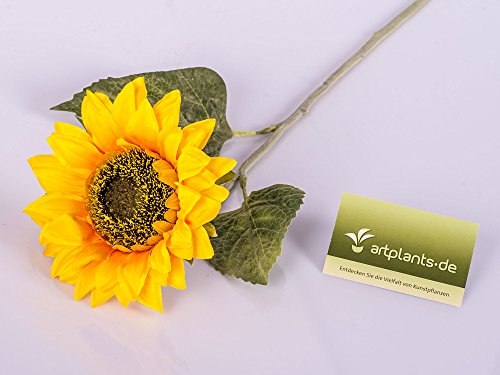 artplants Set 6 x Künstliche Sonnenblume, gelb – orange, Ø 13 cm, 63 cm – 6 Stück Deko Blumen/gelbe Kunstblume