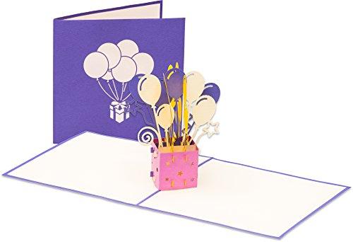 3D Geburtstagskarte Happy Birthday mit Ballons 3D Pop up, handgefertigt, Grußkarte, Glückwunsch Karte, Grußkarten, Glückwunschkarten, Geschenkkarte, Karte