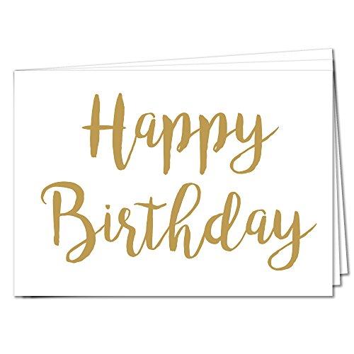 TYSK Design Postkarten Happy Birthday - 10 Postkarten Gold Karte Deko Geburtstag Gruß Herzlichen Glückwunsch Danke Hochzeit Liebe Kindergeburtstag