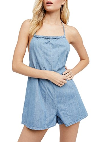 ACHICGIRL Women's Halter Sleeveless Backless Denim Romper blue