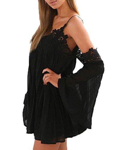 Damen Sexy Mini Party Kleid Cocktailkleid Schwarz