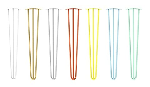 4 x Hairpin Table Legs – From 10cm To 71cm for Coffee Table, Table & Desk, Stool, Cabinet, Bench – Unfinished Bare Steel, Black Matt, White, Silver, Gold, Yellow, Orange, Blue, Mint Green & Clear Coated, Mid-Century Vintage Industrial Style - Best Hairpin Legs in The