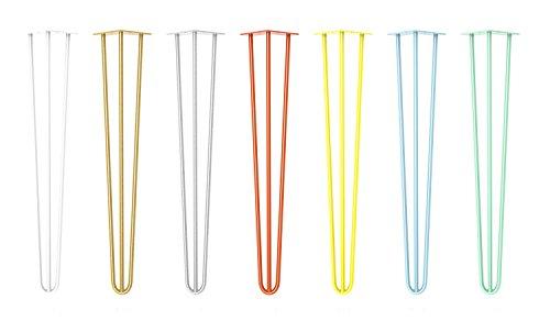 Patas de mesa, diseño de horquilla,estilo industrial, de 10a 71cm para mesa de centro, mesa de comedor y escritorio, taburete, armario, banco, acero en bruto, 4 unidades, color negro, blanco, plateado, dorado, amarillo, naranja, azul, verde y revestimiento transparente