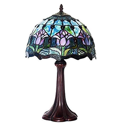 YCL Tischlampe Vintage Blue Tulip Dekoration Tischlampe Online Schalter Schlafzimmer Studie Glas Tischlampe