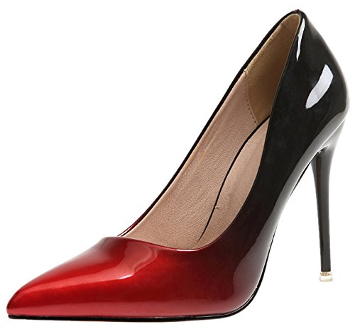 BIGTREE Damen Hochzeit Pumps Gradients High Heels Schuhe Rot Stiletto Kleid Pumps 37 EU