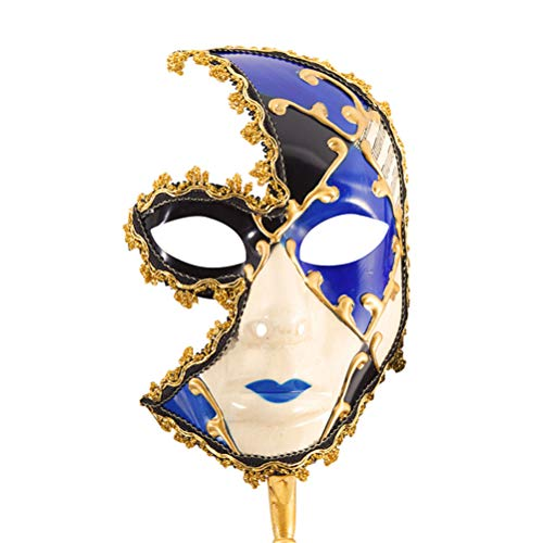 Jiahe Halbe Gesichtsmaske Halloween Upscale Kleid Party Party Maske Party Party Performance Maske,Blue (Gesicht Make-up Halloween-das Skelett Halb)