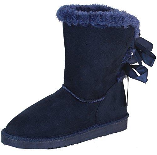 Nurasto - Damen langer Schlupfstiefel Schnee Regen Classic gefütterte Stiefel Winter Fur Boots Blau