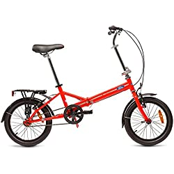 "Ford B-Max Bicicleta Plegable, Unisex Adulto, Rojo, 16"""