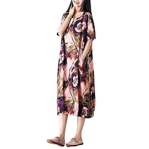 FeiXing158 Kleid 2019 Vintage Floral Print Kleider Damen Kurzarm O Neck Print Reversible Belt