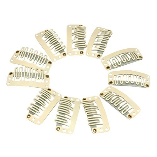 H88-50 X CLIPS BEIGE SNAP CLIPS FOR HAIR EXTENSION 33MM5300170