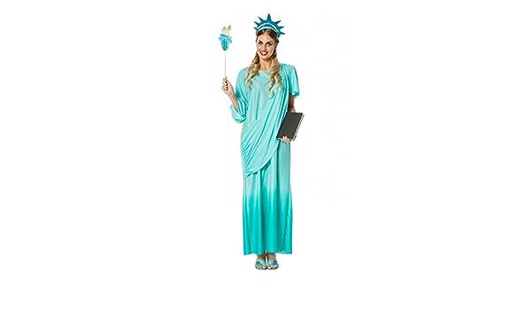 Torche et Robe Parfaite pour Halloween Couronne Carnaval et Cosplay Taille Unique 160-175cm thematys Statue de la Libert/é Robe Costume 3 pi/èces pour Dames