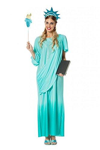 Deluxe Damen Kostüm Freiheitsstatue Kleid mit Schärpe Kopfschmuck Fackel Statue Of Liberty, Größe:46 , Farbe:-Türkis