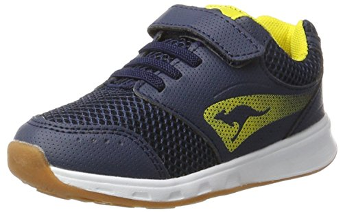 KangaROOS Unisex-Kinder Rodo EV Sneaker, Blau (Dk Navy/Yellow), 32 EU (Kinder Girls Turnschuhe)