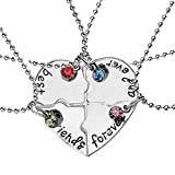 Hoveey Lot de 4 colliers d'amitié en alliage avec pendentif portant l'inscription en anglais « Best Friends Forever and Ever » Motif de cœur