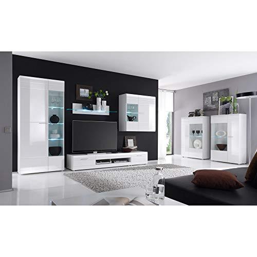Lomadox Modernes Möbel-Set Wohnzimmermöbel in Hochglanz weiß Vitrinen mit LED