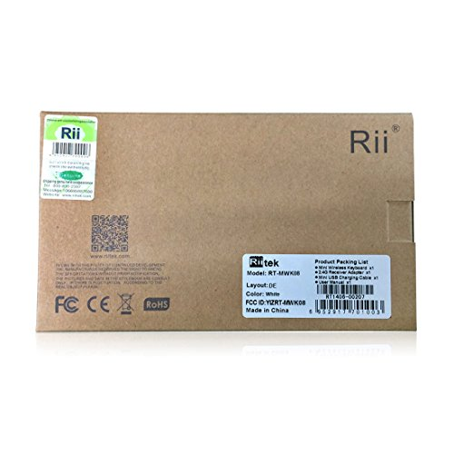 Rii i8 2.4GHz Wireless Kabellose Mini Tastatur (92 Keys DE QWERTZ)Ergonomische mit Touchpad-Maus und Ersatz Wiederaufladbare Li-ion Batterie für Smart TV, Raspberry Pi,Mini PC, HTPC, Computer und Konsolenspiele MacOS,Linux, Android,XBMC,Windows 2000 XP Vista 7 8 (Rii i8 Weiß) - 5
