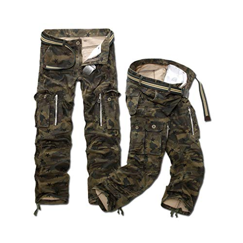 Mens Military Cargo Hot Army Camouflage Long Outwear Cotton Pants Loose Trousers No Belt