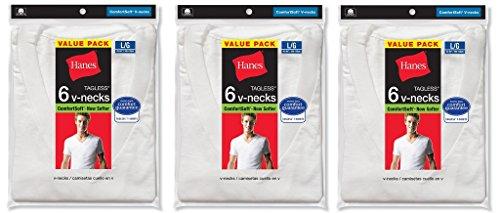 Hanes Herren Unterhemd Weiß Weiß White (18-pack)